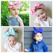 Fashion 2016 NEW Cotton Knot Large Messy Bow Headbands For Baby <strong>Hair</strong> <strong>Accessories</strong>