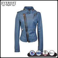 2016 New Design PU Leather Jacket Color Blue Leather Biker Jacket