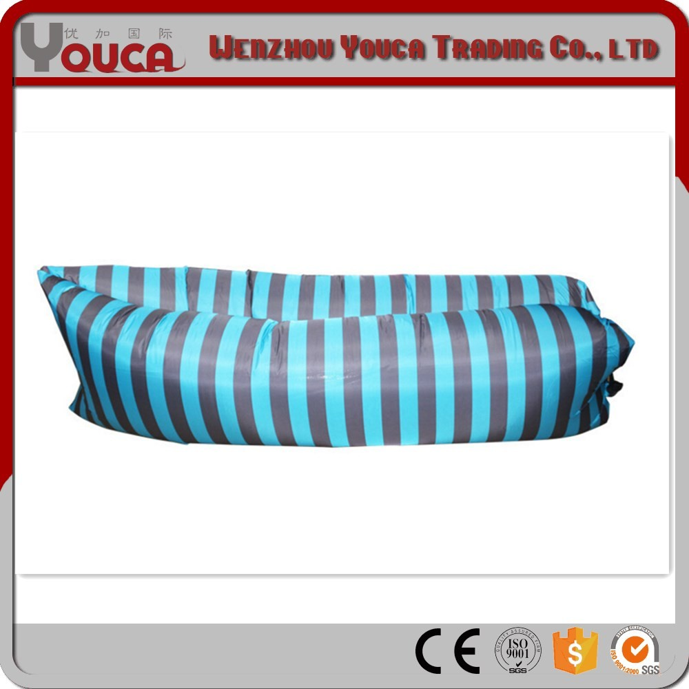 210T 190T Camouflage camping stripe sleeping lay bag inflatable sofa Simple Black and Blue