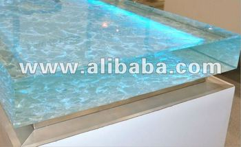 Custom colored fused glass countertops
