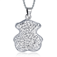 High Quality Stainless Steel Full Crystal Beaded Cute Bear Charms Pendant for Women Jewelry