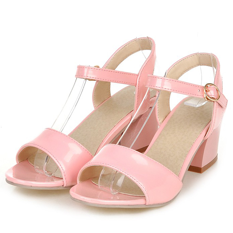 DoneBay 2015 Pumps High Heel Shoes Women Sexy Platform Square Heel Open Toe Patent Leather Beige/Pink/Green/Black/White Sandals