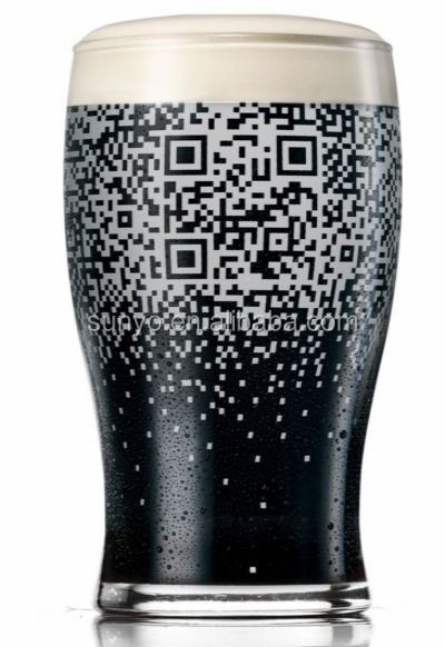 Novelty Handmade Large Size Guinness Beer Glass Filled with QR Code Decal