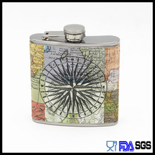 6OZ leather wrapped stainless steel whisky hip flask