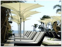Aluminum frame synthetic rattan weaving outdoor beach bed and umbrella