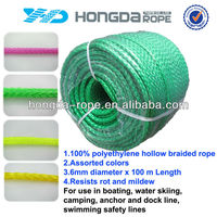 6mm green pe hollow braid rope for sale,Water Ski rope