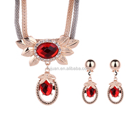 Rose Gold African Jewelry Sets Wedding Bridal Crystal Water Drop Necklace Earrings Set