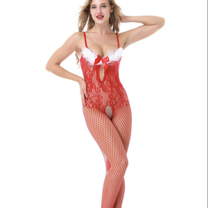 White fur trim red christmas bodystocking bodystocking crotchless 8976