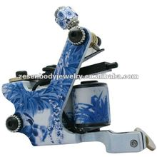 Top Tattoo Machine Gun Blue and White Porcelain 8 Wrap Coils for shader Liner
