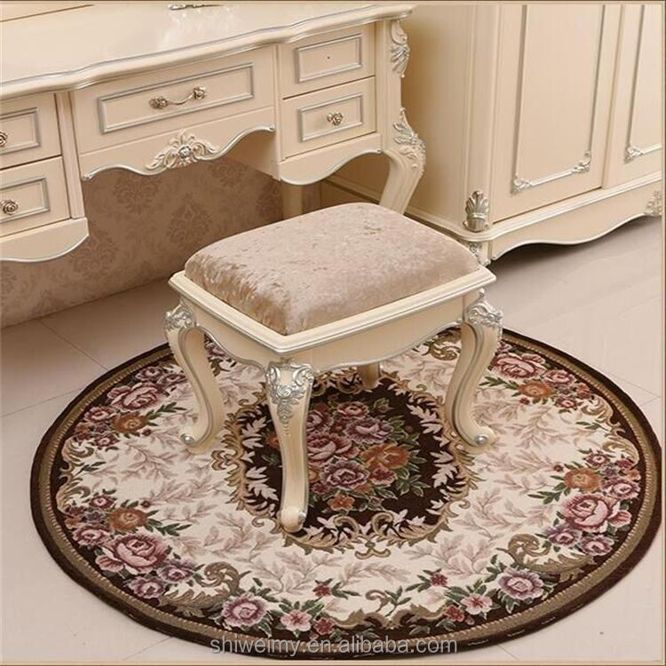 High wear resistance brown jacquard round shape chair rug