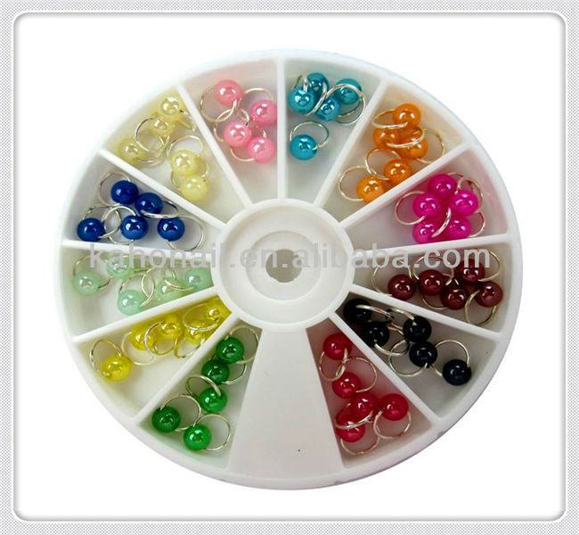 Hot-Selling 2014 YIWU Ceramic Nail art Dangles in wheel 5mm Nail Accessories