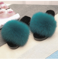 2017Fashionable Soft And Comfy Fluffy Women Ladies Indoor Real Fox Fur Slippers