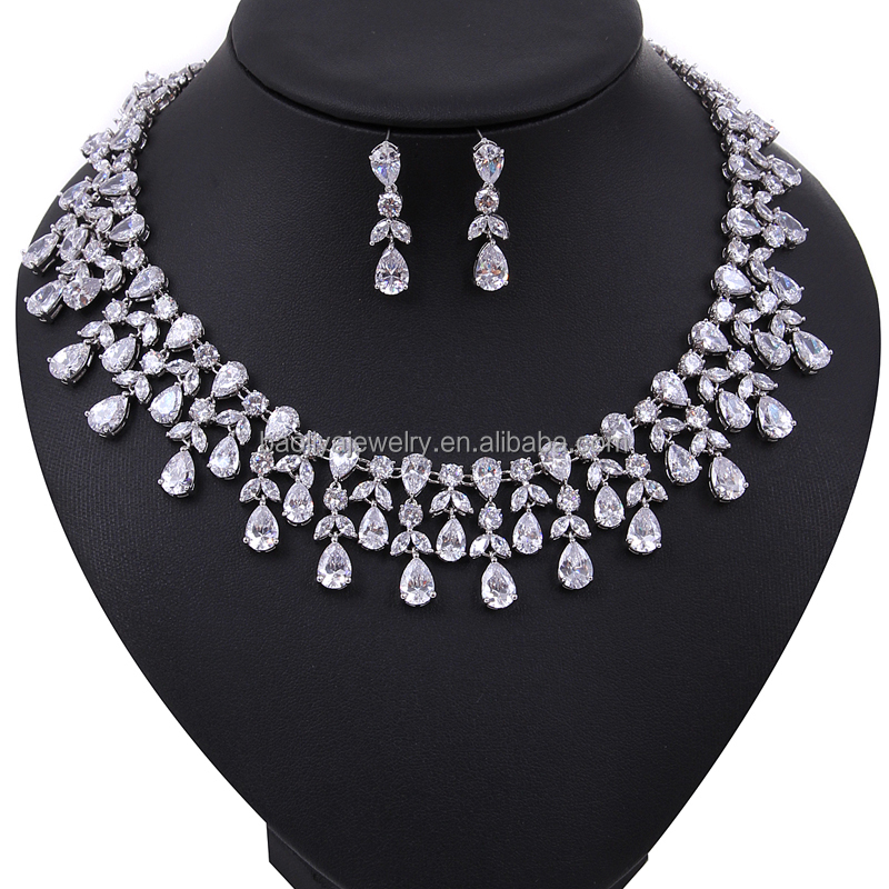 Fancy African and Indian heavy bridal earring and necklace set with CZ Diamond