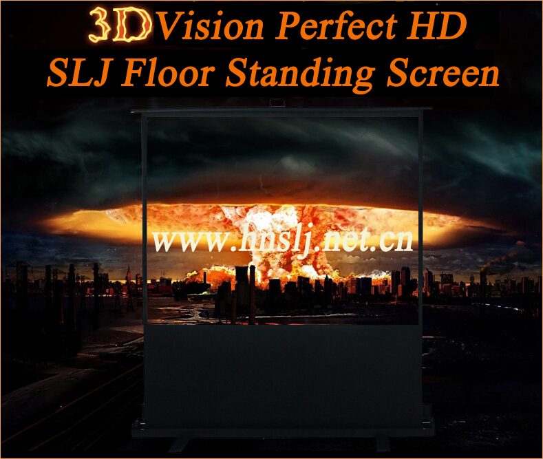 "70"" Pull-up Portable Easy Operate Floor Standing Screen Projector for Wedding Used"