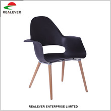 Modern leisure wood base leg pp chair with armrest
