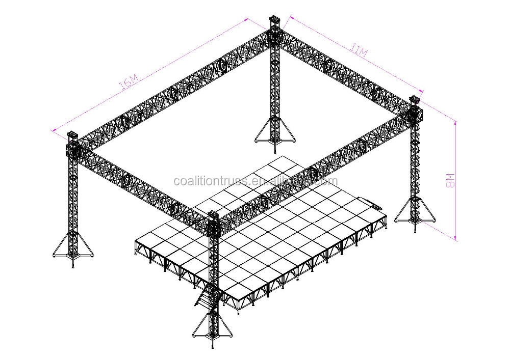 Cheap aluminum lighting custom stage truss system buy for Cheap truss systems