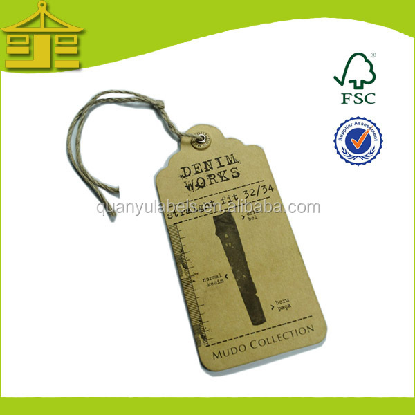 High Quality Custom Denim Hang Tags Design Jeans Hang Tag Lable