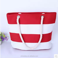 Exhibition hot sell striped beach tote bag canvas rope handle beach bag wholease small MOQ