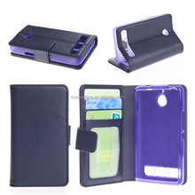 wholesales magnetic flip pu leather stand wallet case for sony E1