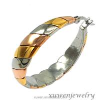 three tone stainless steel tri color hoop earrings