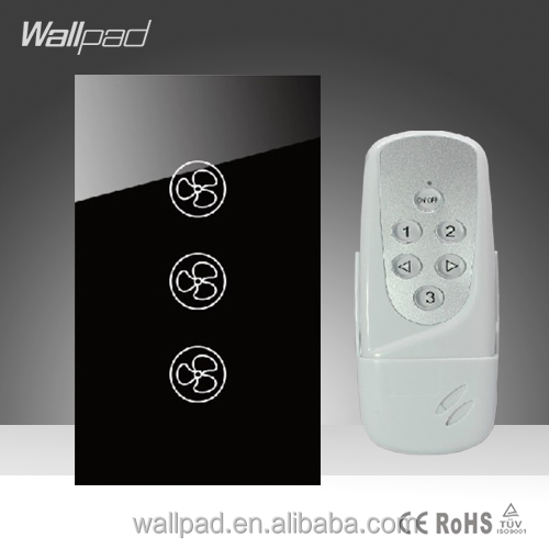Wallpad LED Black Glass 110~250V US/Australia Standard Wireless Remote Control 3 Speed Ceilling Fan Regulator Controller Switch