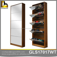 Wholesale floor standing mirror cabinet shoes 5 drawer KD MDF cabinet