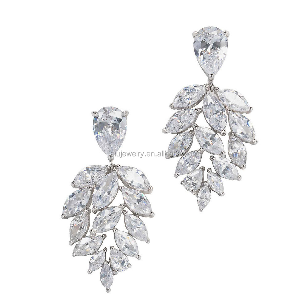 925 sterling silver fashion crystal bridal earring