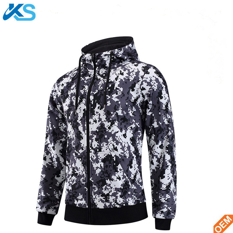 OEM custom cotton polyester blend fleece Men's Fitness Sports Hoodie Zipper Hooded Camouflage Pullover