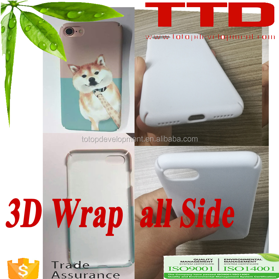 wrap all phone sides ,for iphon 7 ,newest 3D dye sublimation Blank Polymer phone cover