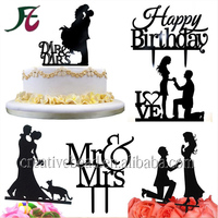 Hot Sale Wedding Cake Topper Monogram, Cake Topper Design Personalized with Love, Love Acrylic Cake Topper