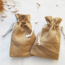 Nature jute burlap drawstring gift bag