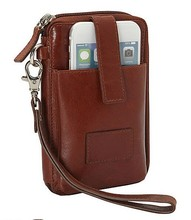 Unisex leather passport cover travel wallets with the phone pocket latest RFID wave purse