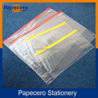 High Quality School or Office Stationery Zipper Document Bag,Plastic Clear Waterproof Files Folder