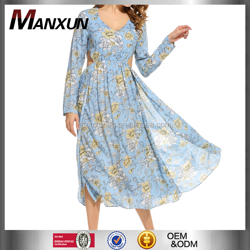 New Women Sexy V-Neck Long Sleeve Dress Prints Hollow Out Side Wedding Split Long Dress