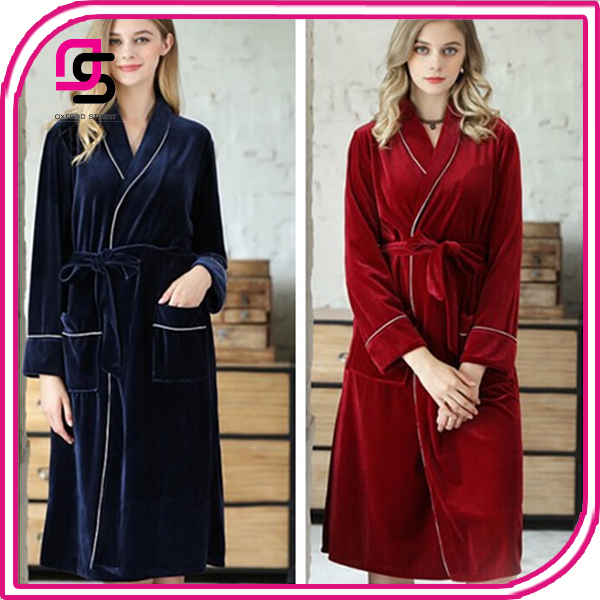 Women's Autumn And Winter New Style Velvet NIghtgown Hot Selling Warm Pajamas Fashionable Multi - colored Family NIghtwear