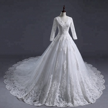 Gorgeous Victorian Vintage Lace Applique Wedding Dress Long Sleeves  Arabic Tulle ball gown long tail Bridal Dresses Gowns