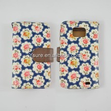 flower painted design folio book style pu leather phone case for Samsung Galaxy S2 9100