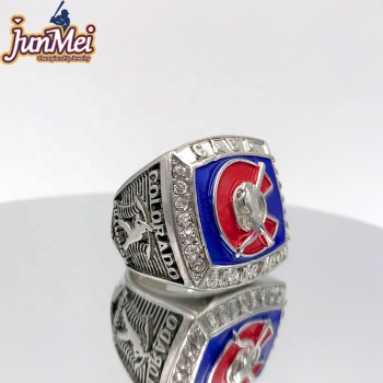 Factory store silver & stainless steel cheap custom any team logo league states world series baseball championship ring