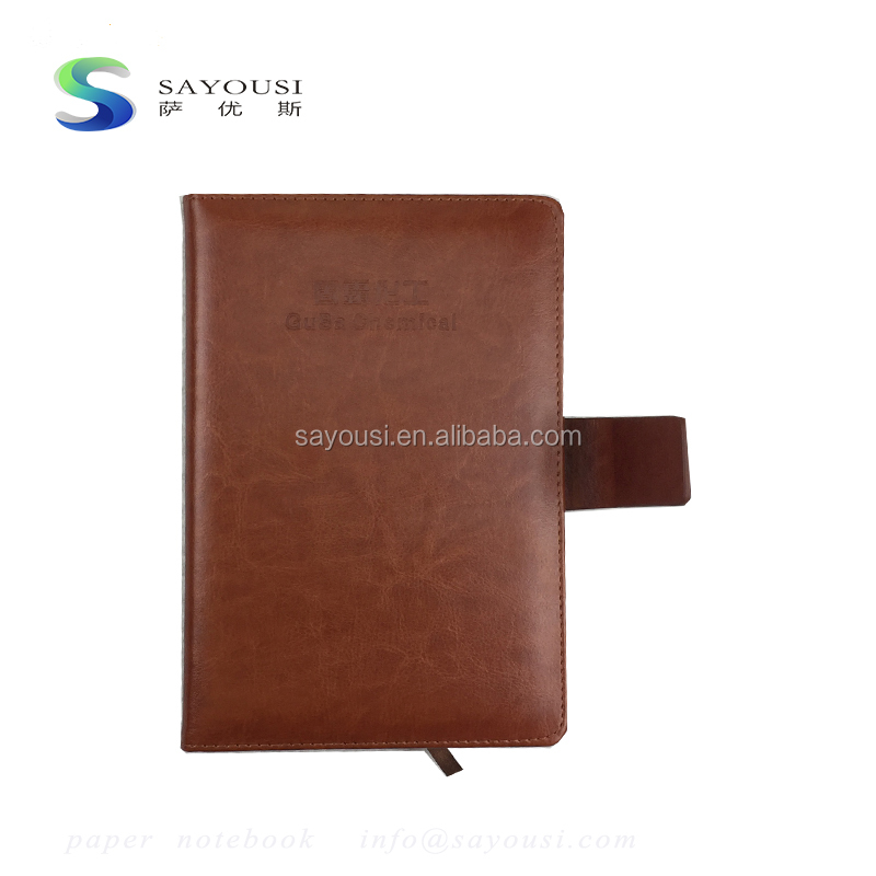 fancy luxury PU leather diary cover embossed diary travelers agenda notebook with pen holder