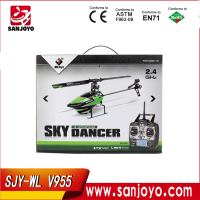 "Mini 2.4G "" Flybarless "" remote control helicopter V955 4ch with gyro large scale rc helicopters sale"
