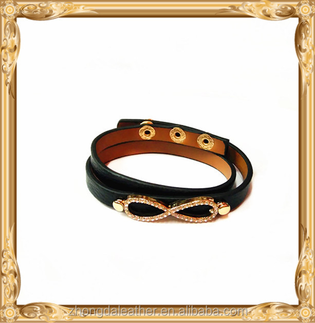 2017 Hot Sale Charm Women Leather Cuff Bangle Jewelry 316L Stainless Steel Bowknot Bracelet Wholesale