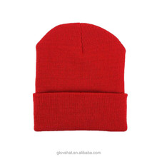 2018 wholesale low price high quality custom leather patch promotional blank beanies