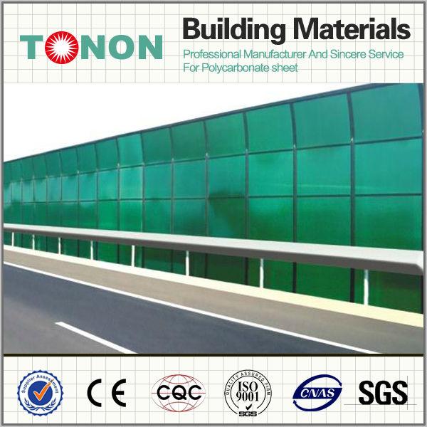 Polycarbonate sheet sound barrier plastic building for Plastic building materials