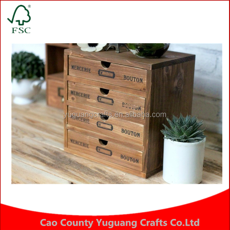 Holders Retro Makeup Organizer Drawers Wooden Storage Cabinet Box