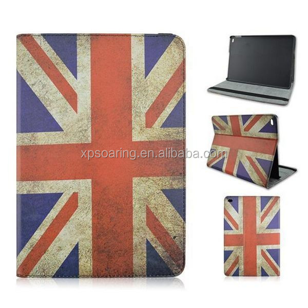 Retro Flag leather case for ipad 6, stand flip case pouch for ipad air 2