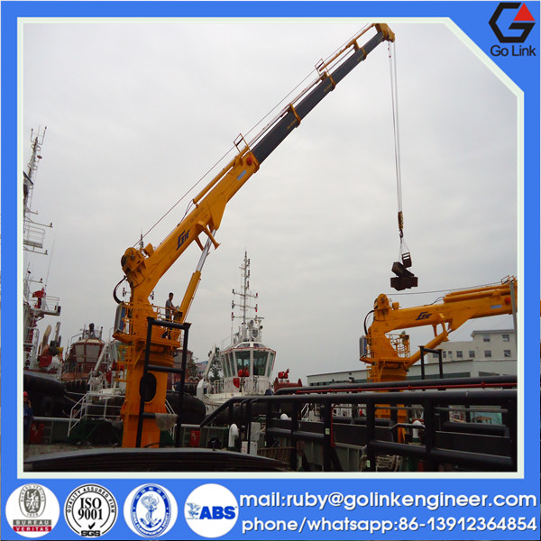 CCS/ABS/BV approved low price trade assurance supplier widely used marine telescopic arm boat lifting crane