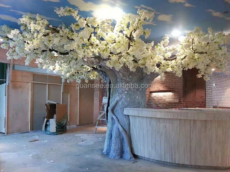 Height 3 m and Width 4.5 m Cement Trunk Artificial White Cherry Blossom Tree