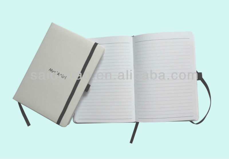 White leather elastic notebook with pen holder,White pu leather notebook/2014 new products personalized leather notebook covers