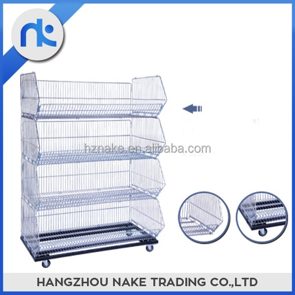Wholesale movable 4 layer folding wire basket cage shelf on wheels