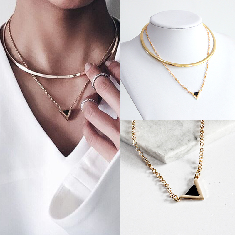 European and American fashion jewelry necklace triangle geometric Pendant Necklace for Women YR014